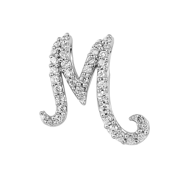 "White Gold Script Diamond ""M"" Initial Necklace"
