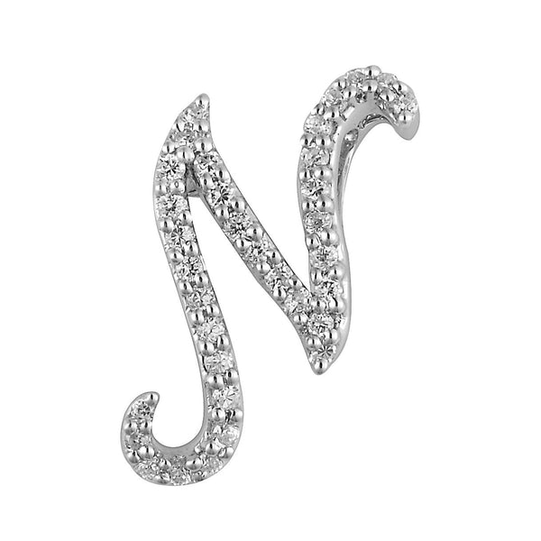 "White Gold Diamond Script ""N"" Initial Necklace"