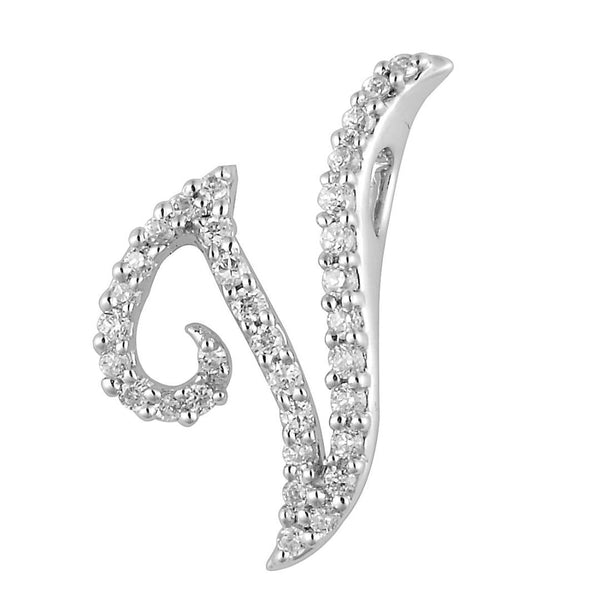 "White Gold Diamond Script ""V"" Initial Necklace"