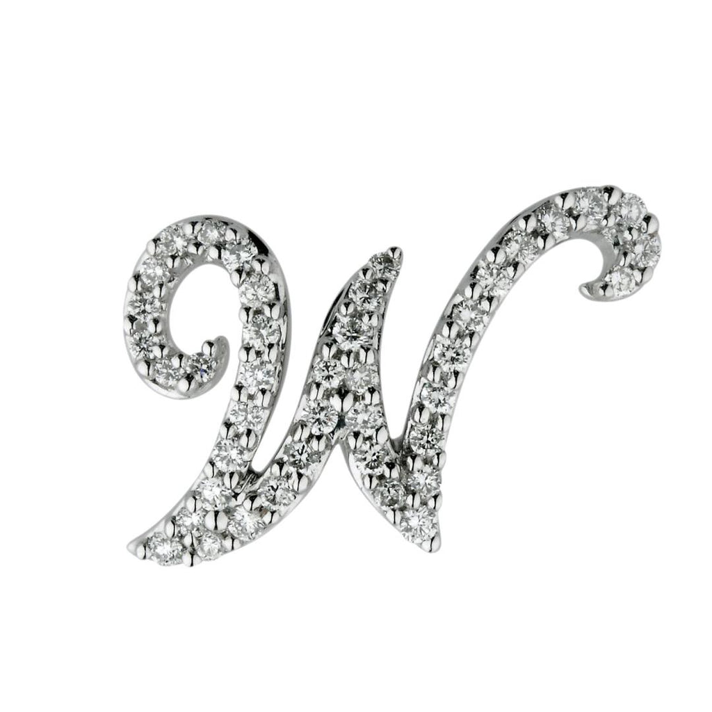 "White Gold Diamond Script ""W"" Initial Necklace"