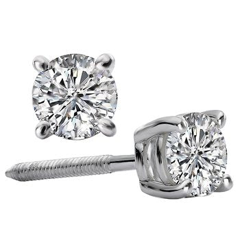 White Gold 3/4ct. tw Round Diamond Studs