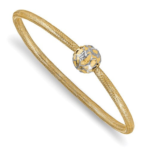 Yellow and White Gold Ball Mesh Bracelet