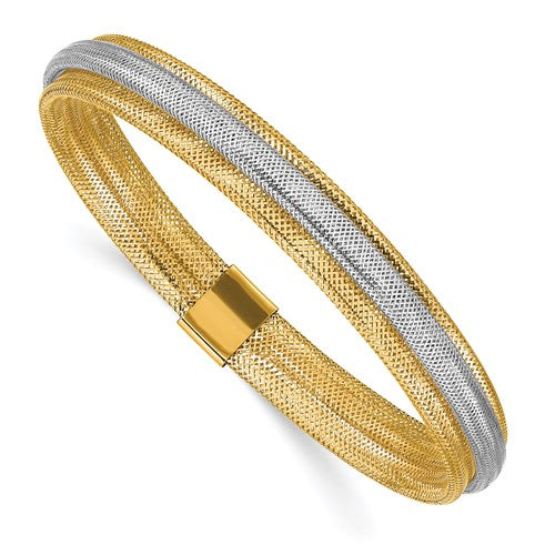 Yellow & White Gold Wide Double Mesh Bracelet