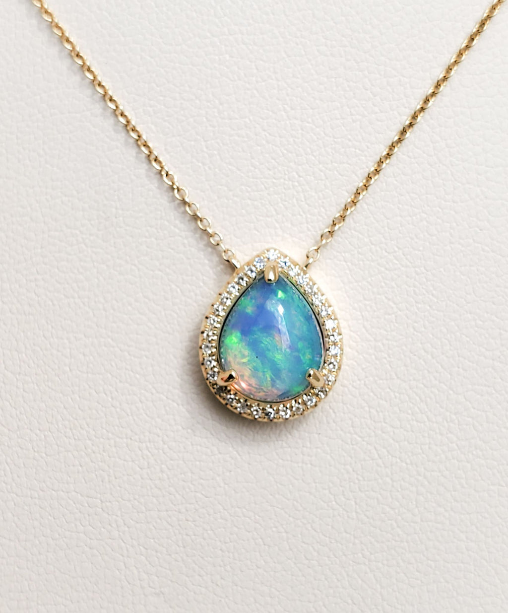 Yellow Gold Pear Shape Opal & Diamond Necklace