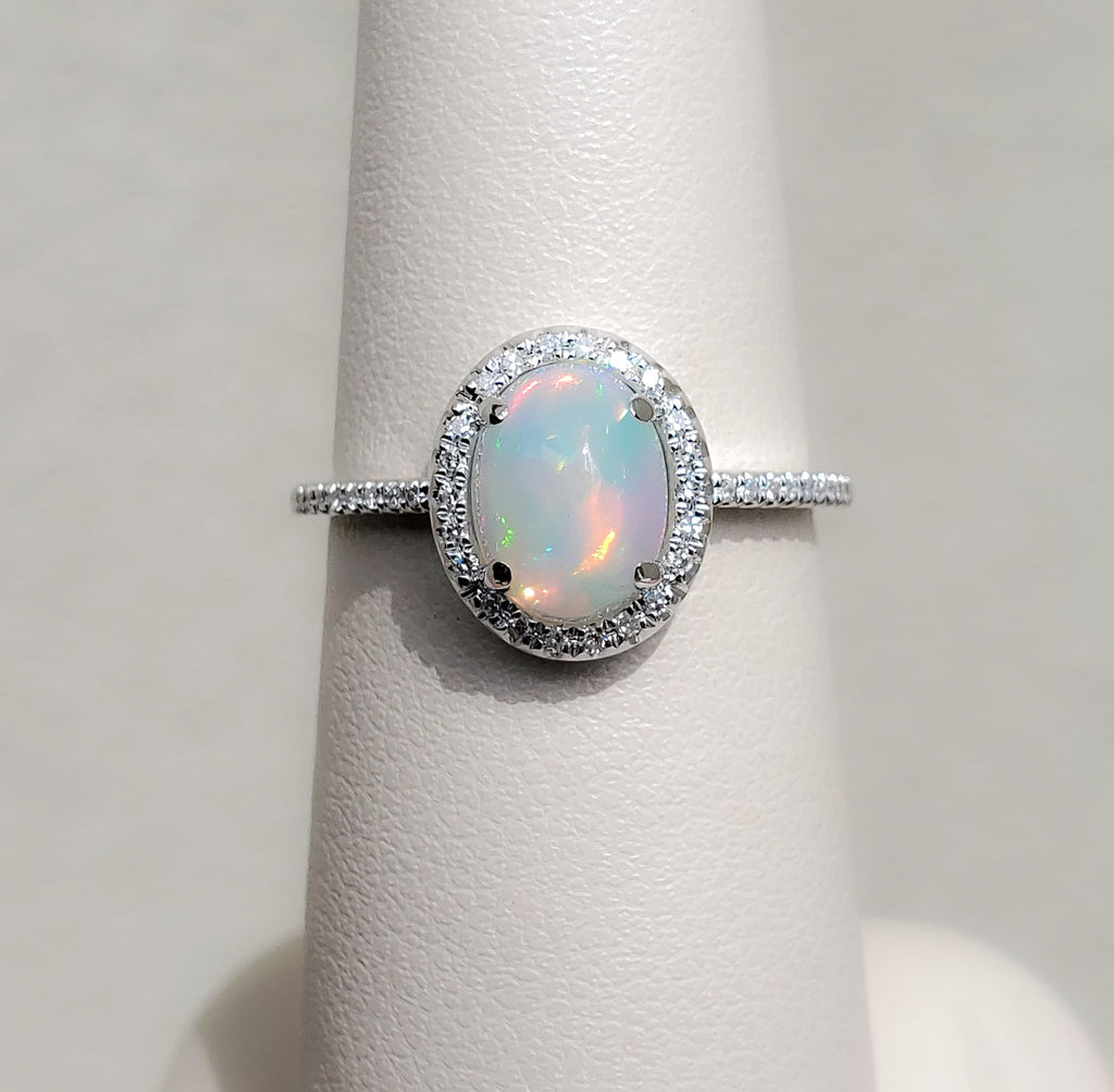 White Gold Oval Opal & Diamond Ring