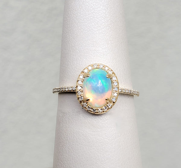 Yellow Gold Oval Opal & Diamond Ring