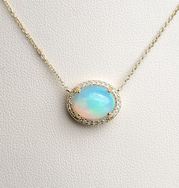Yellow Gold Oval Opal & Diamond Necklace