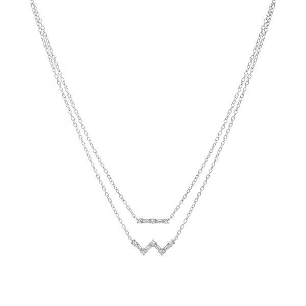 White Gold Layered Diamond Necklace