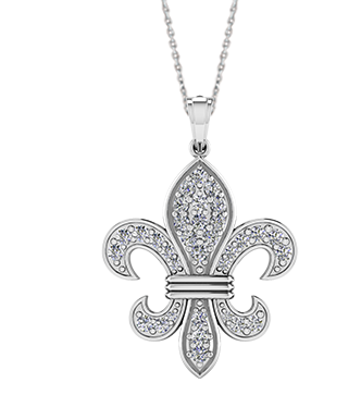 "White Gold Diamond Large ""Fleur De Lis"" Necklace"