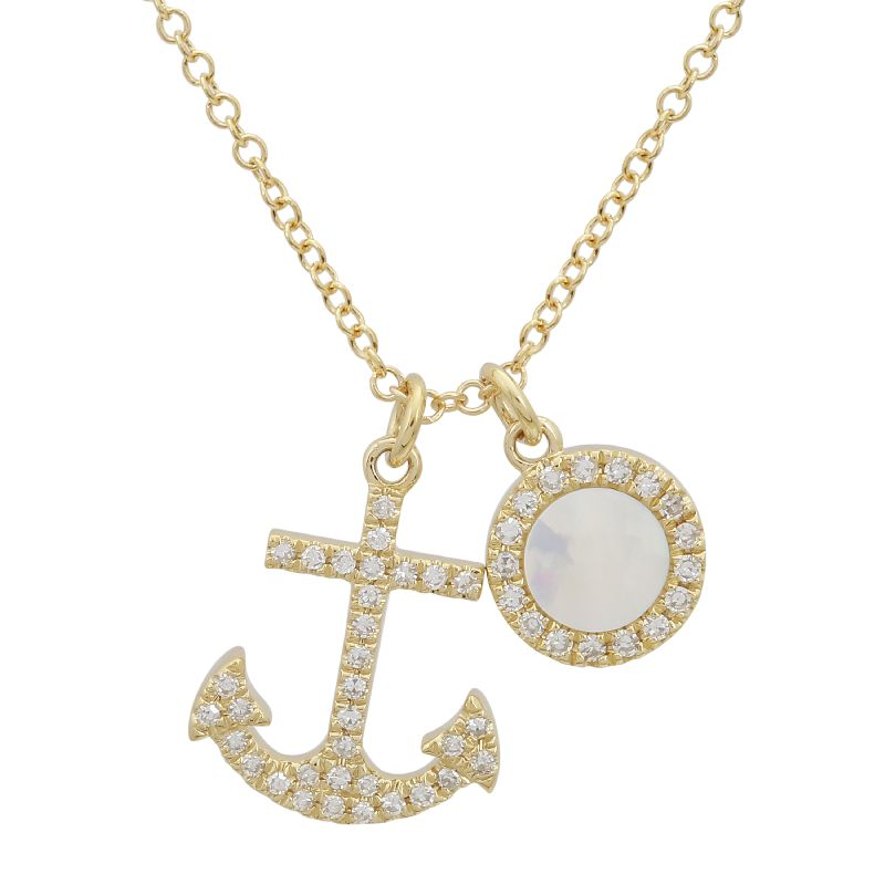 Yellow Gold Diamond & Mother of Pearl Anchor Necklace