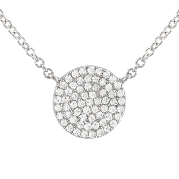 White Gold Pave' Diamond Circle Necklace