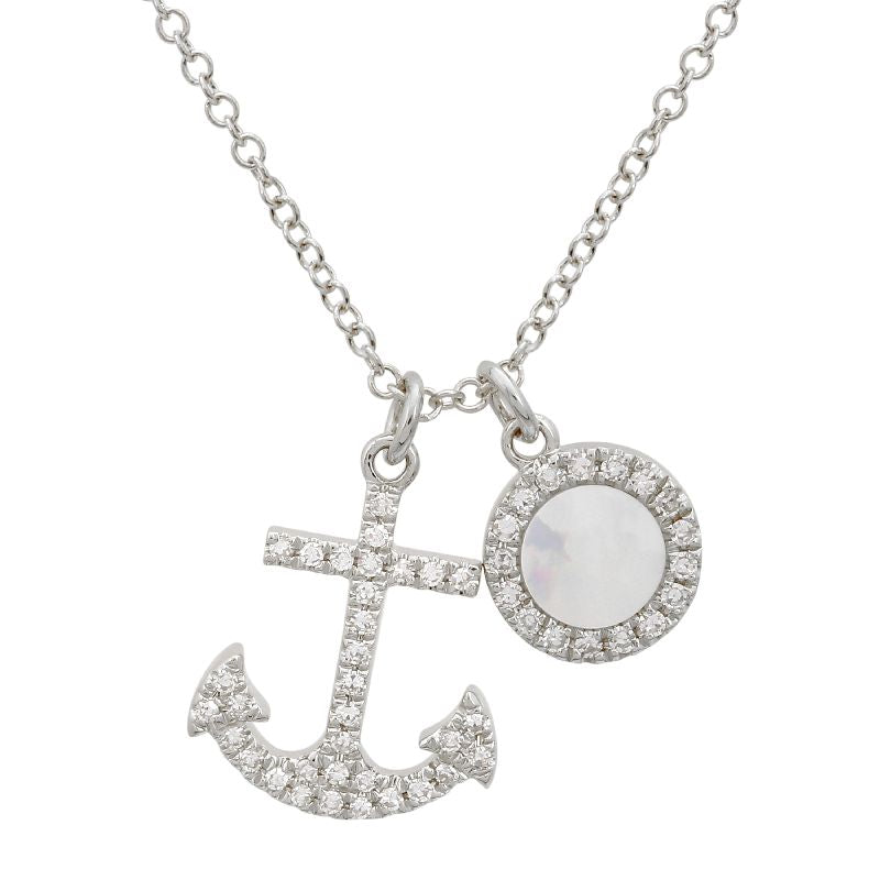 White Gold Diamond & Mother of Pearl Anchor Necklace
