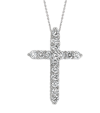 Small White Gold Diamond Cross Necklace