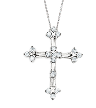Large White Gold Baguette Diamond Cross