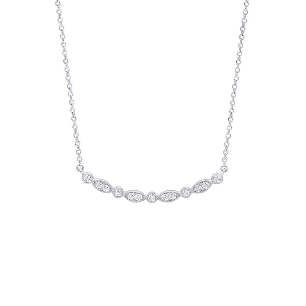 White Gold Diamond Curved Bar Necklace