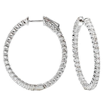 "White Gold ""Large"" Oval Diamond Hoop Earrings"