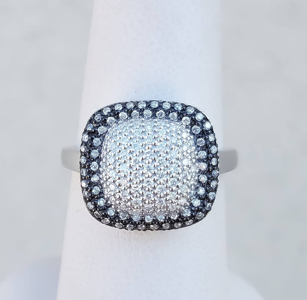 "White Gold ""Black & White"" Pave' Diamond Ring"