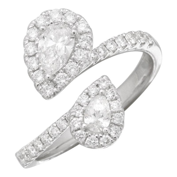 White Gold Double Pear Diamond Ring