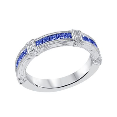 White Gold Blue Sapphire & Diamond Birthstone Band