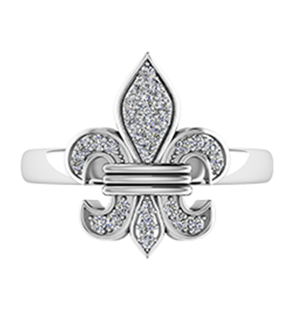 "White Gold Diamond ""Fleur De Lis"" Ring"