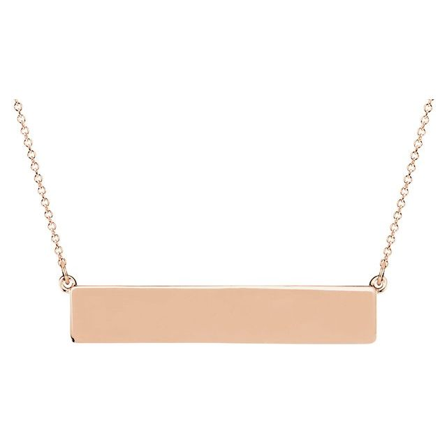 Rose Gold Engravable Bar Necklace