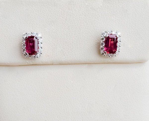 White Gold Ruby & Diamond Halo Earrings