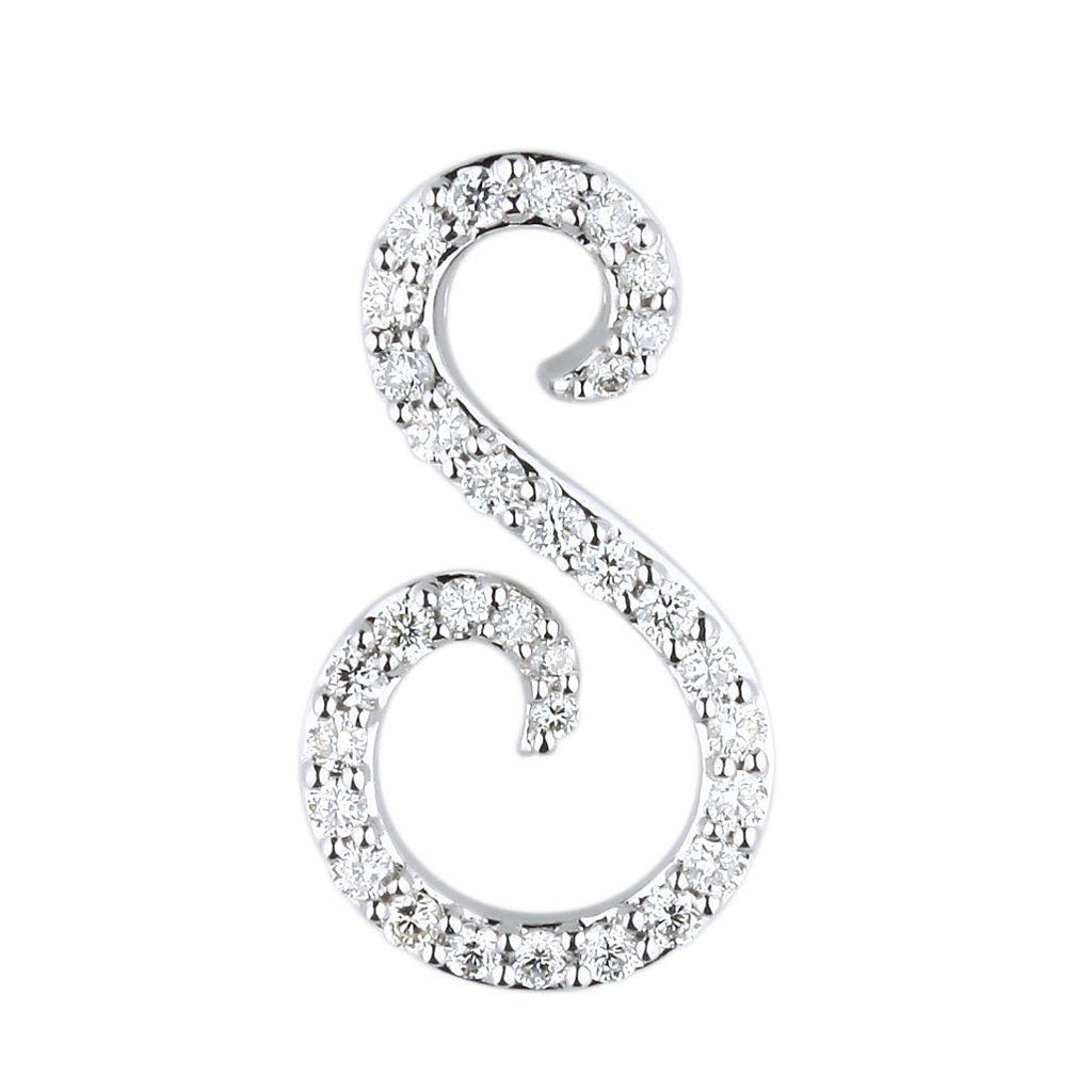 "White Gold Script Diamond ""S"" Initial Necklace"