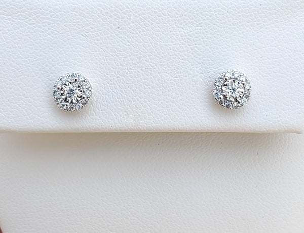 White Gold .25ct. tw Diamond Halo Earrings