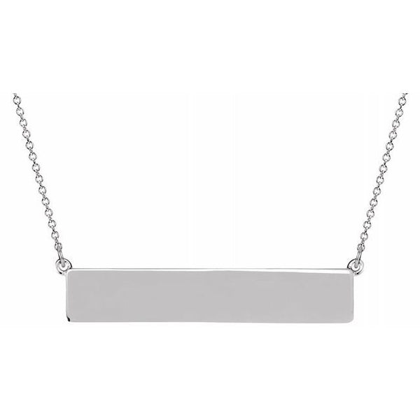 White Gold Engravable Bar Necklace