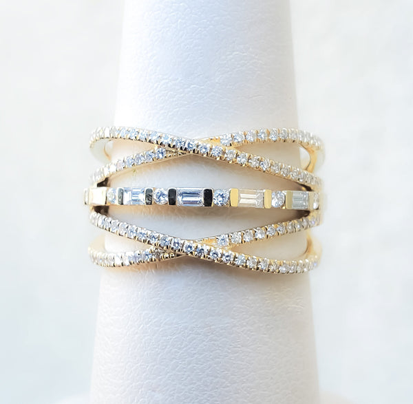 Yellow Gold Multiple Layered Diamond Band