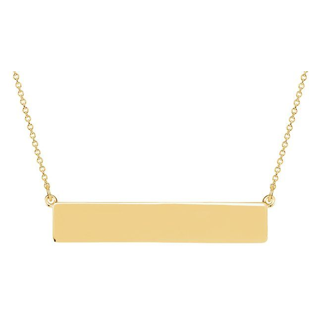 Yellow Gold Engravable Bar Necklace