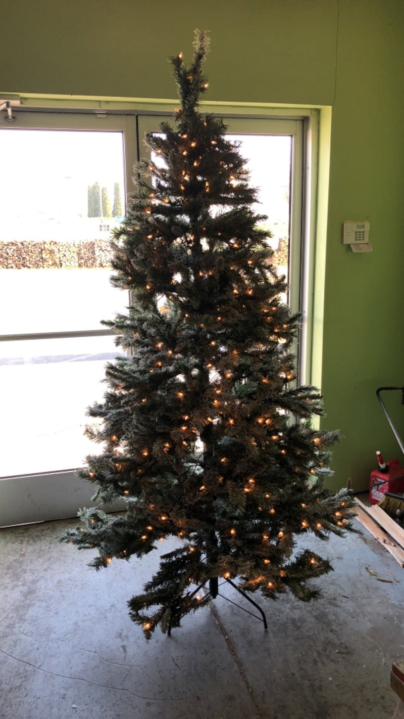 7.5 Ft. Winter Frost Pine Christmas tree w/ lights