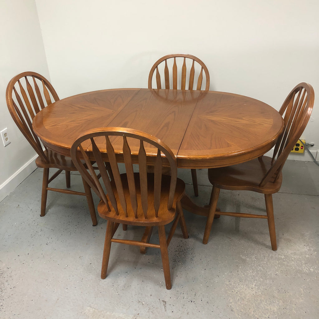 "4 Chair Oak 42"" Dining Room Table Set w/ 18"" Leaf"