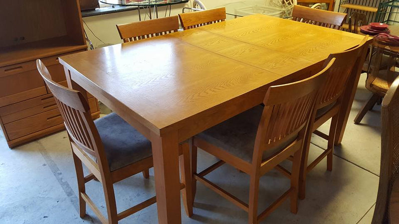 6-Chair Oak High Top Dining Room Set