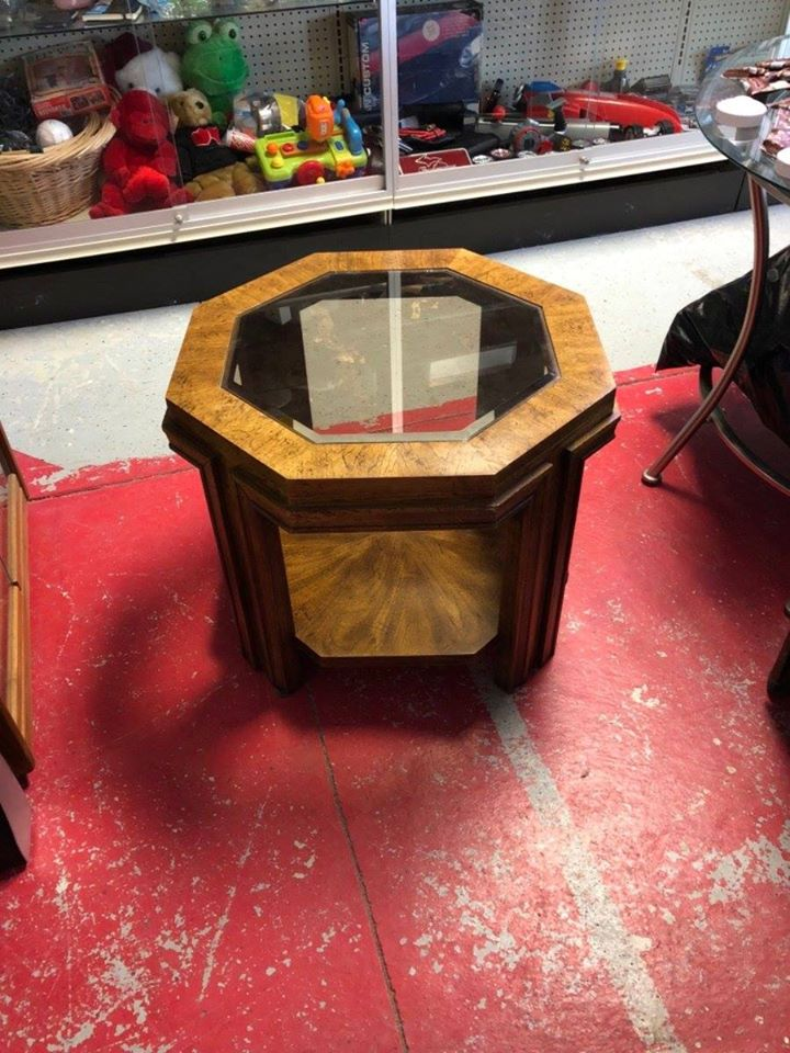 Octagonal Brown Wood-Framed End Table