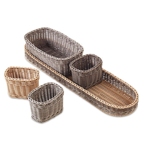 Pampered Chef 5 Piece Wicker Serving Caddy Set #2726