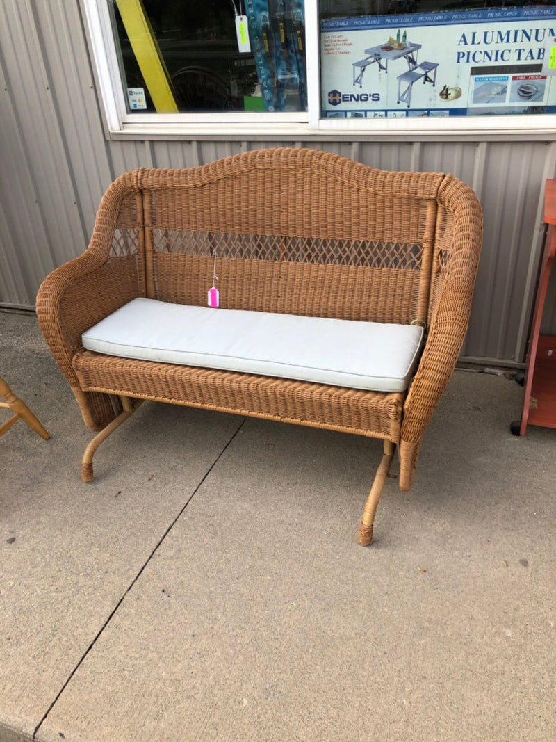Wicker Glider Rocker Sofa Bench