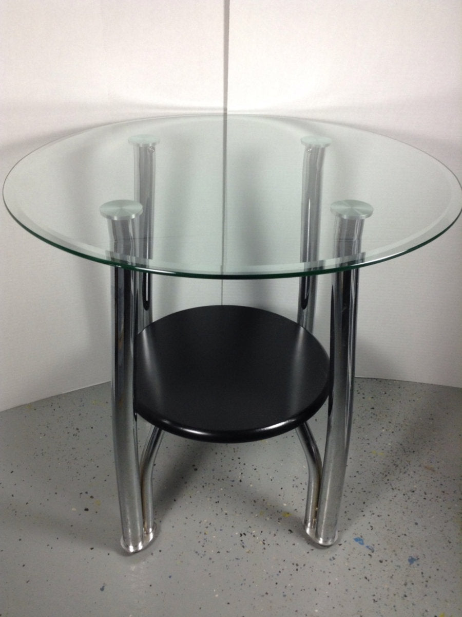 "26"" Round Glass End Table W/ Black Wood Base & Chrome Legs"