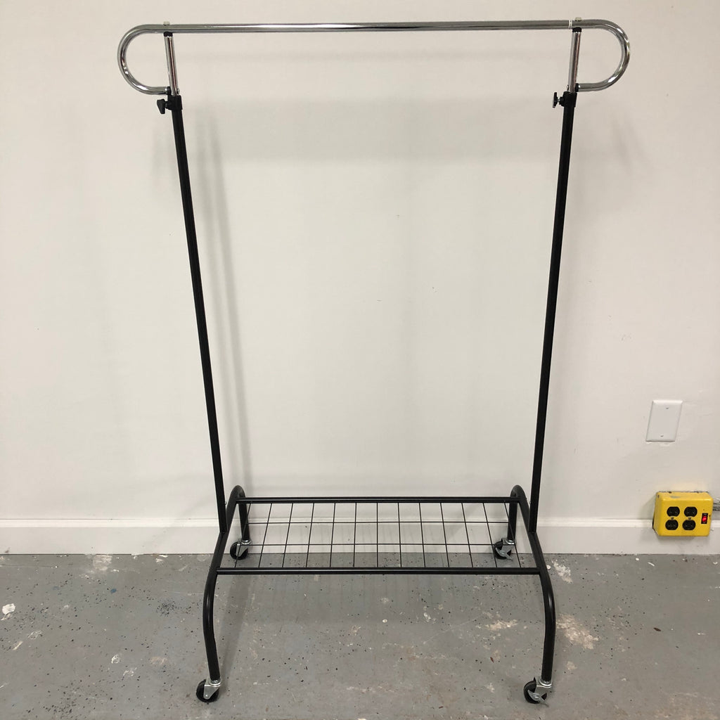 Clothing Height Adjustable Hanging Storage + Bottom Shoe Rack On Wheels