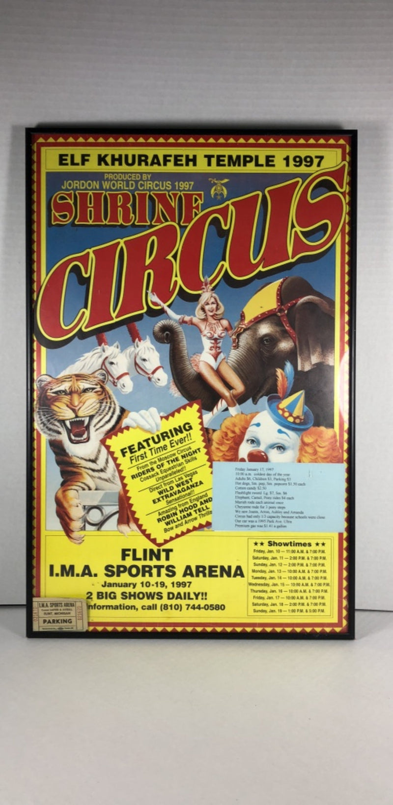 Elf Khurafeh Temple 1997 Shrine Circus Framed Poster w/ Original Ticket