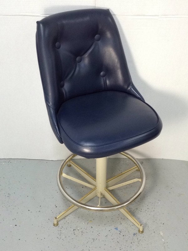 "24"" Bar Stool Blue Leather Seat Cushion W/ Metal Base"