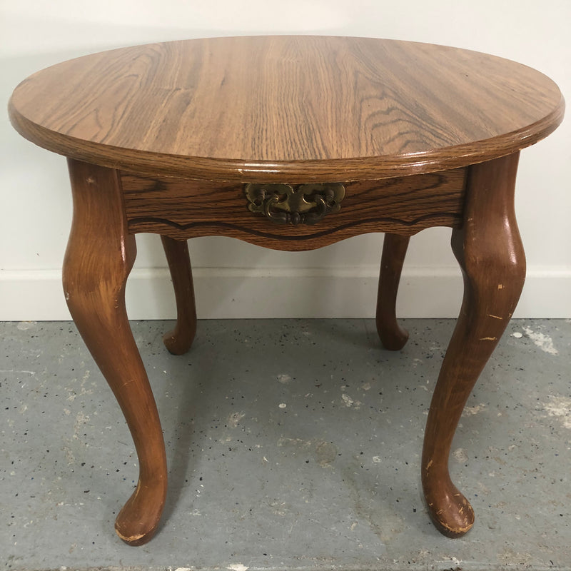 "Replicted Wood 24"" Round End Table"