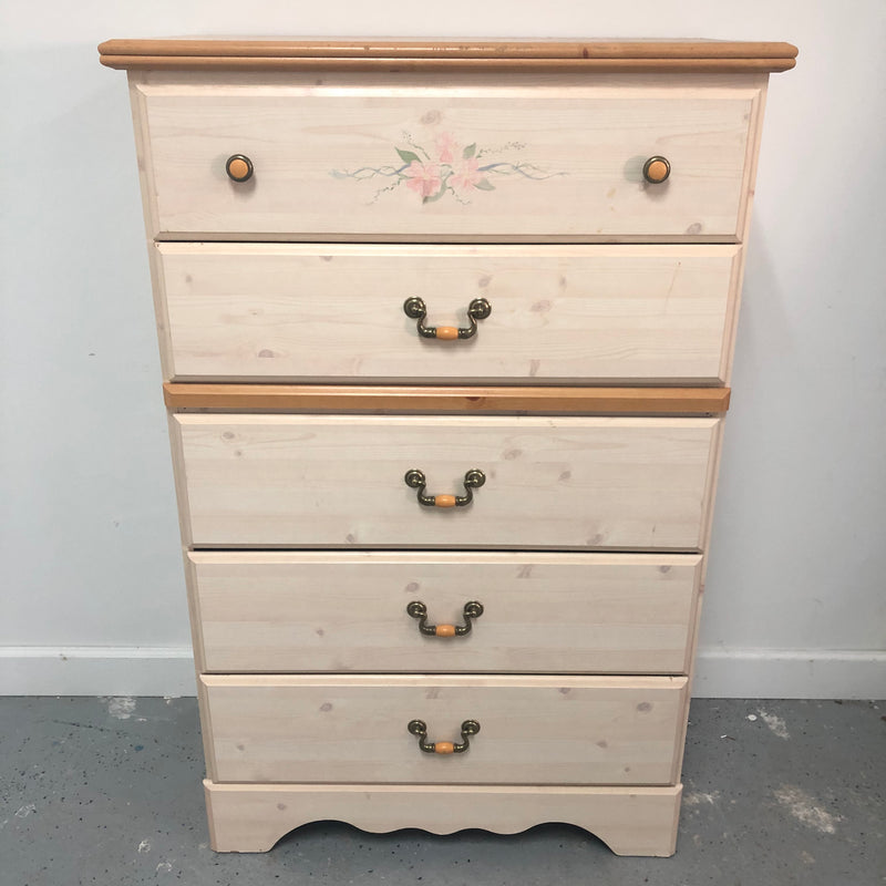 Standard Furniture Princess Collection Cream Tall 5 Drawer Dresser Chest