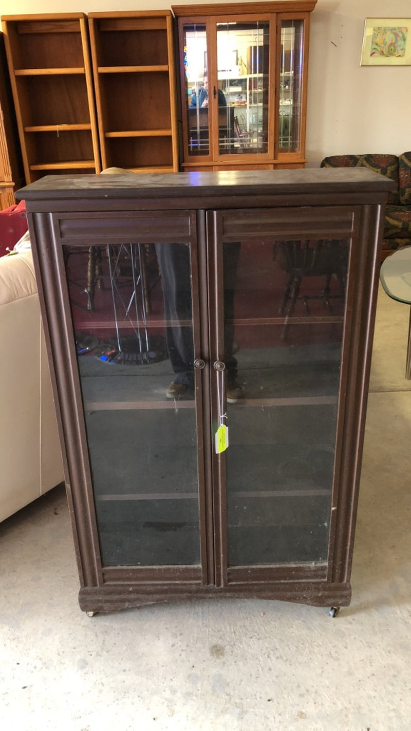 19th Century Book Shelf w/ Glass Doors