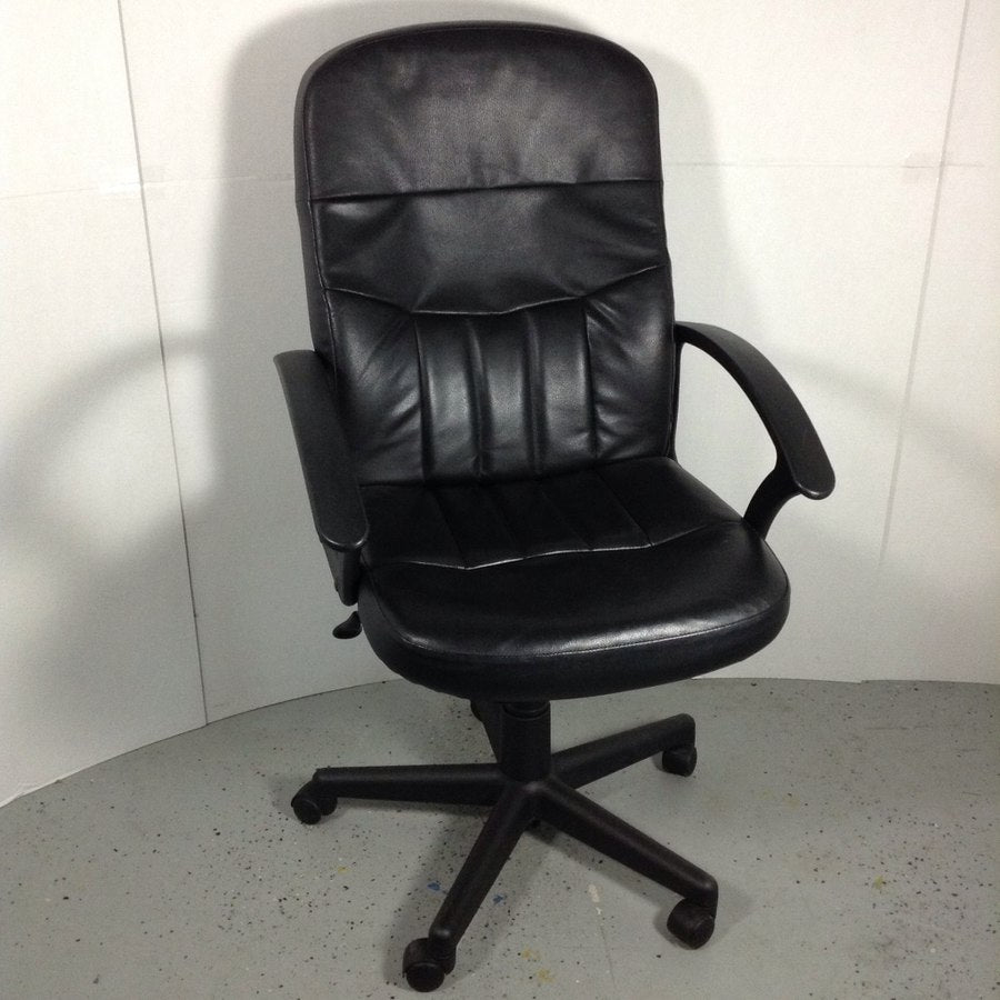 Black Leather Adjustable Office Arm Chair