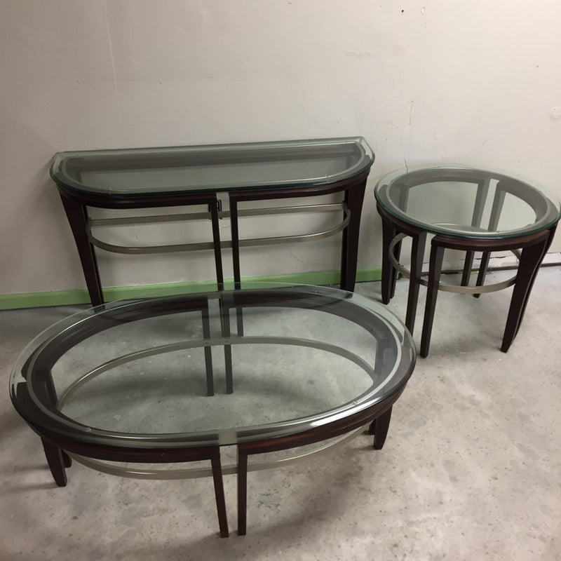 3 Table Set w/ Glass Top & Dark Brown Wood Frame