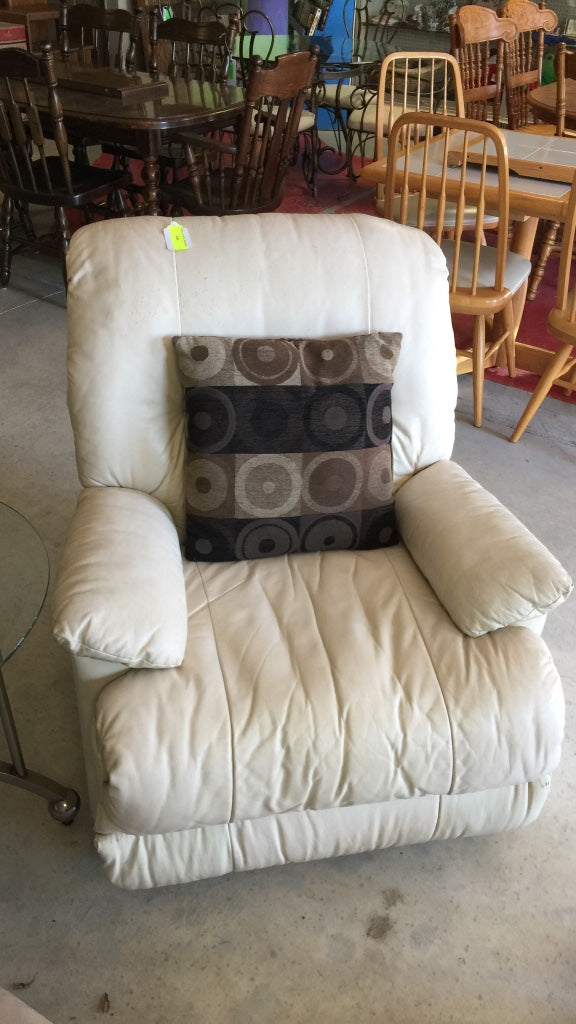 White Leather Recliner Armchair