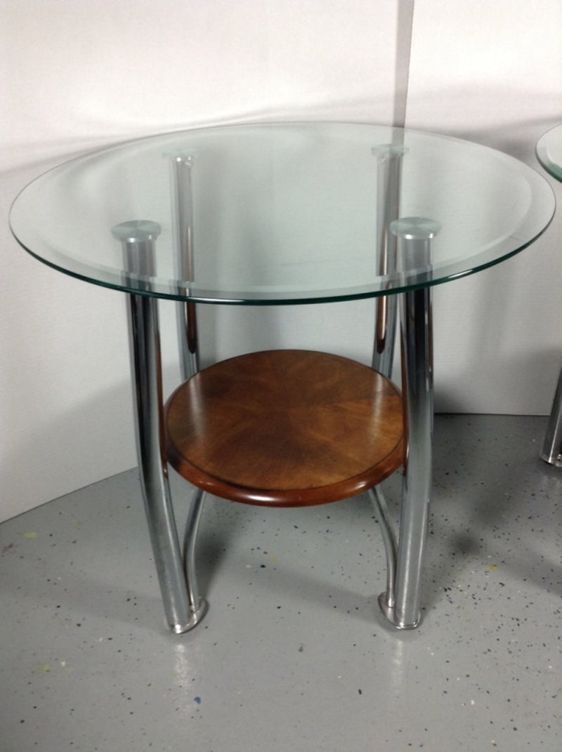 "26"" Round Glass End Table W/ Brown Wood Base & Chrome Legs"