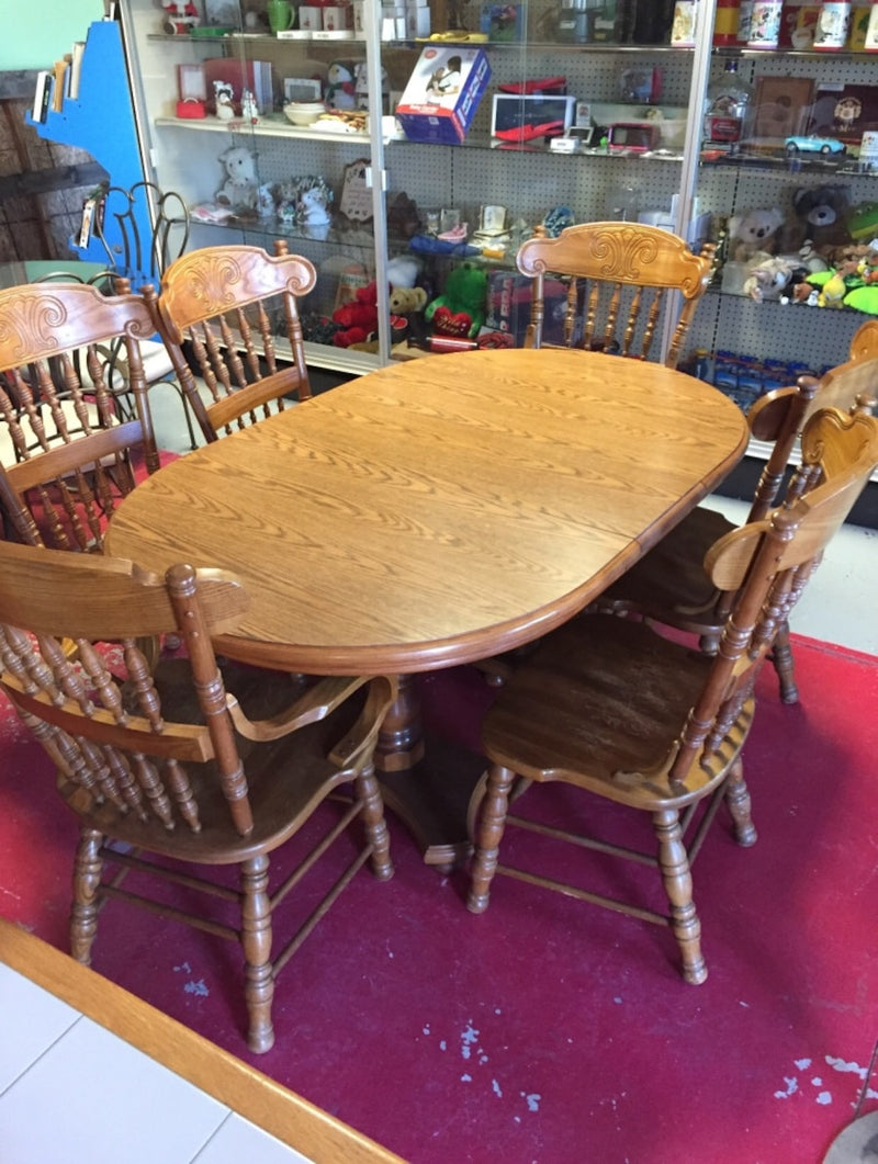 6 Chair Oak Dining Room Set