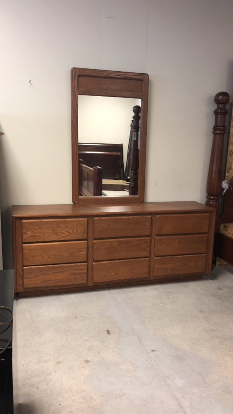 Solid Wood 9-Drawer Dresser w/ Mirror
